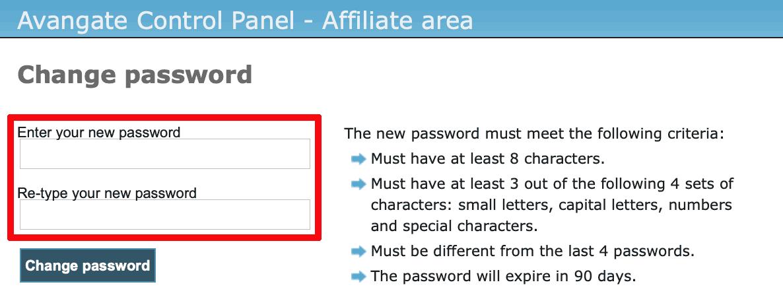 Avangate パスワード変更3